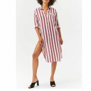 New! Button Down Striped Slit Tunic - Small